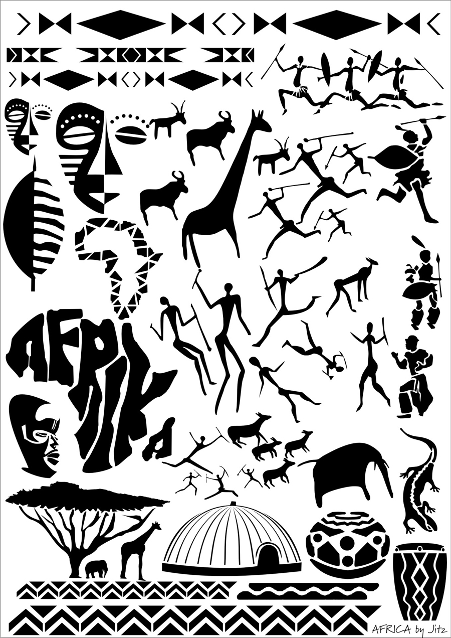 Africa airbrushing art stencil images 2