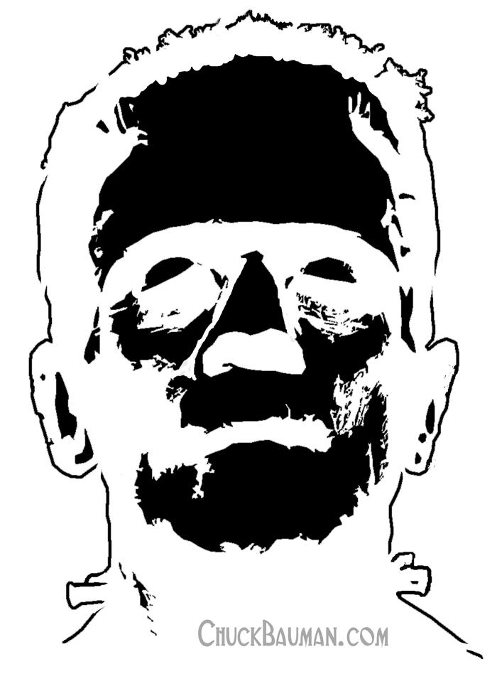 FREE Frankenstein stencil art