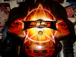 Terry Youngheim's Flames Skull Airbrushing Art 1