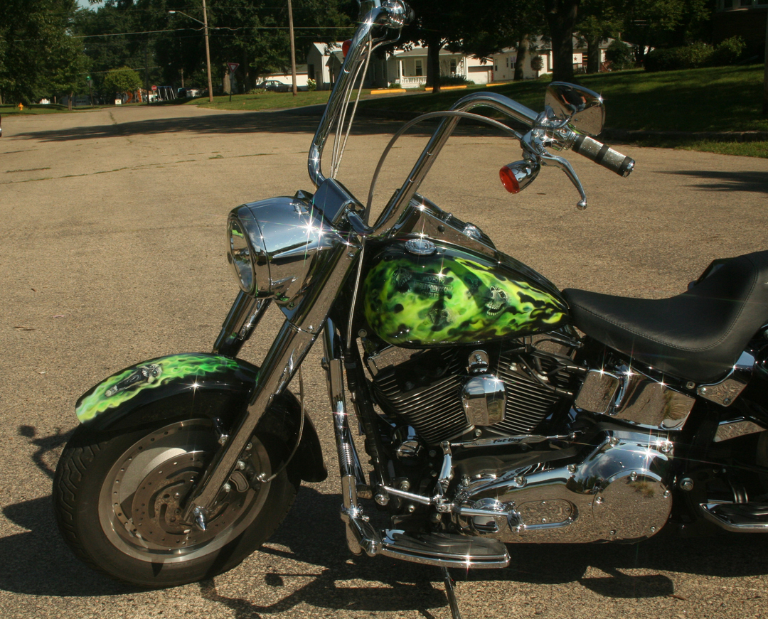 Toxic Green Realistic Flames and Skulls Airbrushed Motorcycle by Veronica Deevers