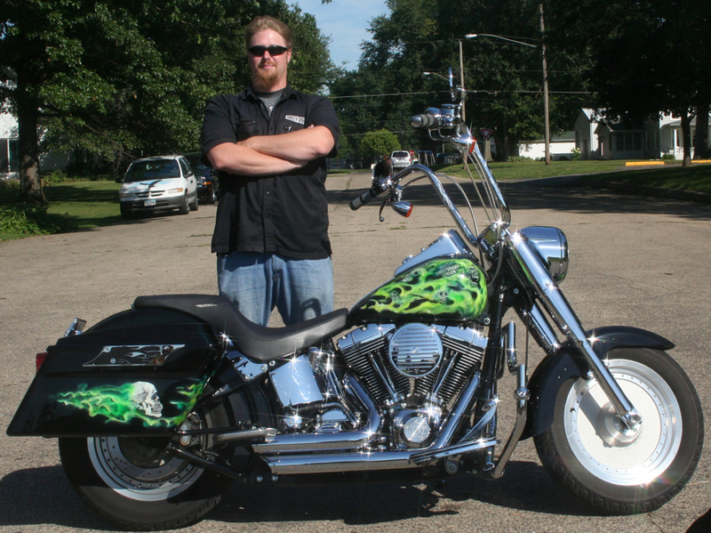 Toxic Green Flames and Skulls Motorcycle by Veronica Deevers