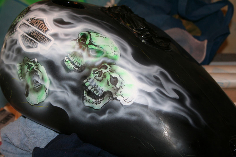 Skull and Flames Airbrushed by Veronica Deevers