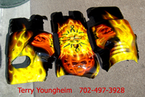 Terry Youngheim's Real Flames Skull Airbrushing Art 2