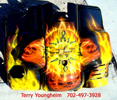 Terry Youngheim's Realistic Flames Skull Airbrushing Art 3