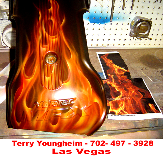 Realistic Flames Airbrush Art by Terry Youngheim of Las Vegas