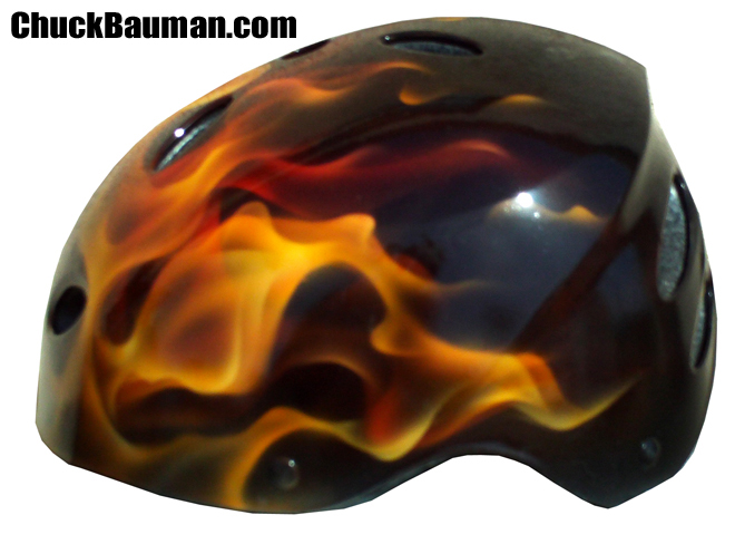 Realistic flames helmet left side