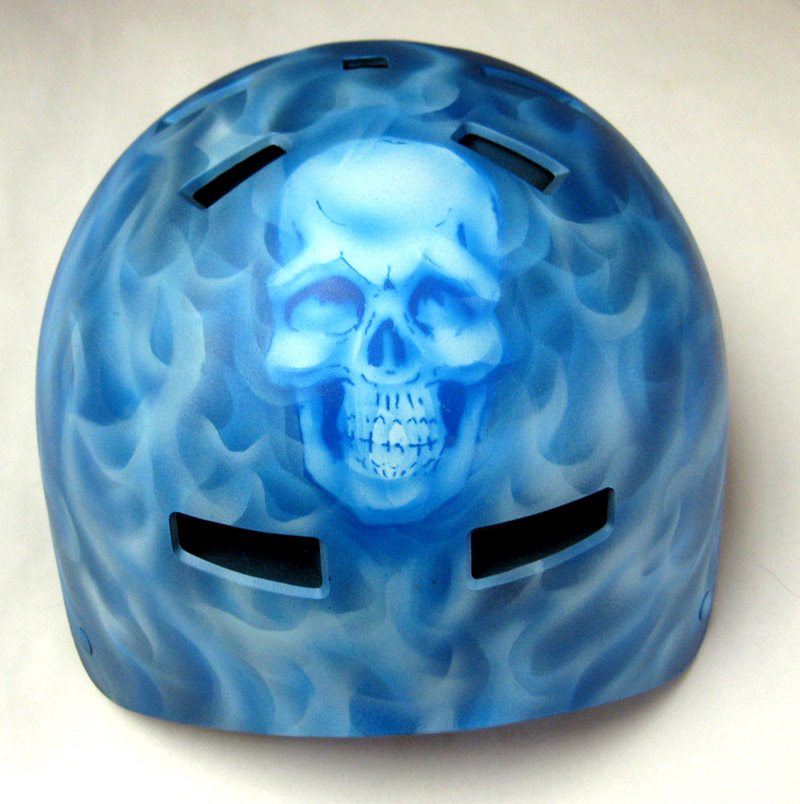 Skull and Blue Flames Helmet
