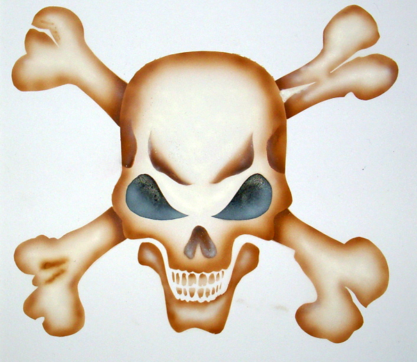 Skull & Crossbones Airbrush Art by Lee Matthews