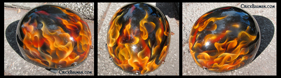 true fire real fire helmet airbrushing art by Chuck Bauman
