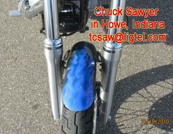 Airbrushing Blue Flames on Harley Fender by Chuck Sawyer
