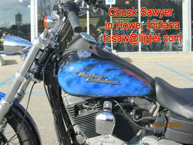 Airbrushing Blue Realistic Flames on Harley Tanks by Chuck Sawyer