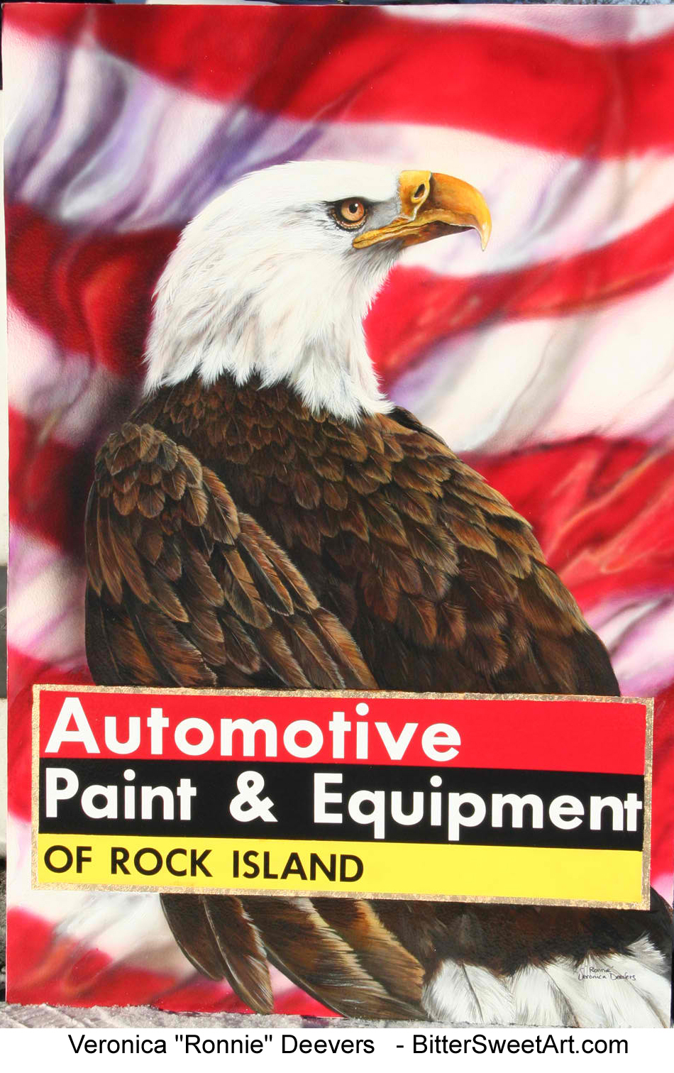 Bald Eagle and American Flag shop sign