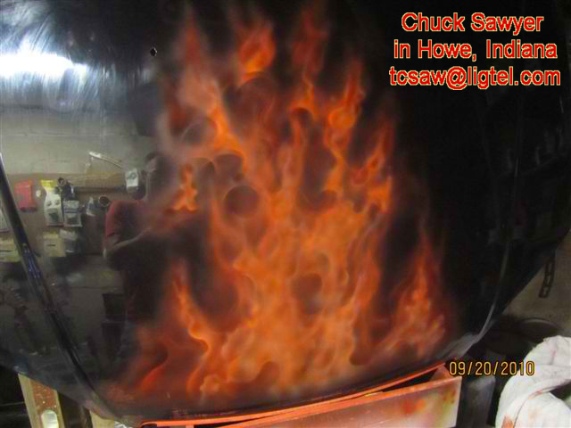 Airbrushed Flames on hood by Chuck Sawyer