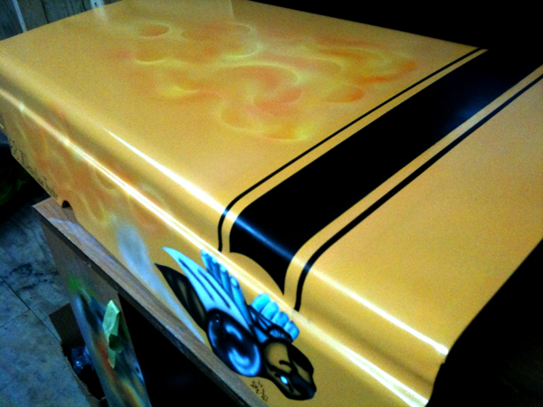 Kustom Airbrushed Hot Rod Mower Hood Art