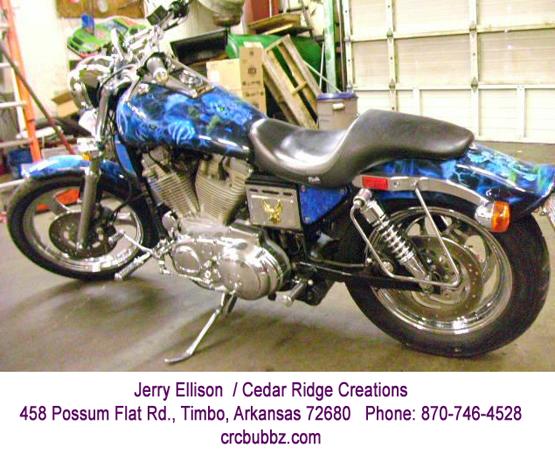 Blue Flames Custom Paint Job Chopper by Jerry Ellison