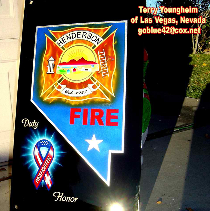 Airbrushing Realistic Flames on Vegas area fire department sign