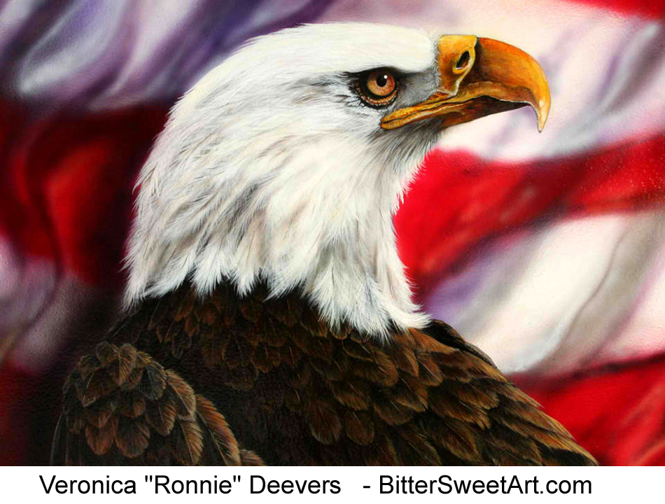 Bald Eagle and furled flag