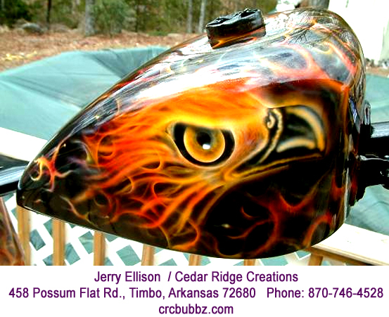 Eagle head with realistic flames Harley tanks by Jerry Ellison