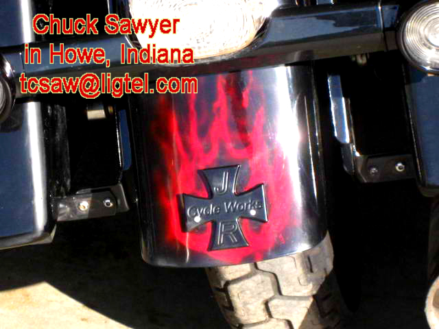 Maltese Cross emblem with red realistic flames airbrush art job by Indiana Artist Chuck Sawyer