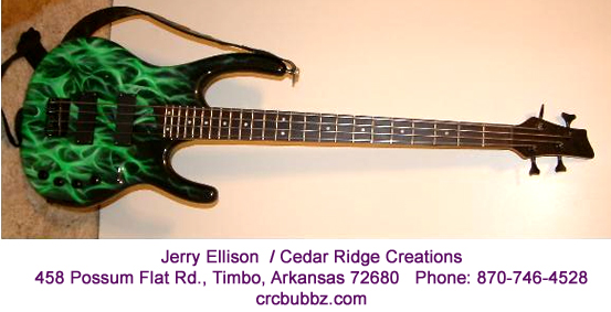 Green Realistic Flames Custom Paint Job Guitar airbrushed by Jerry Ellison