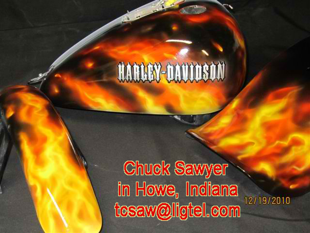Airbrushing Flames on Harley Tanks and Fenders by Chuck Sawyer