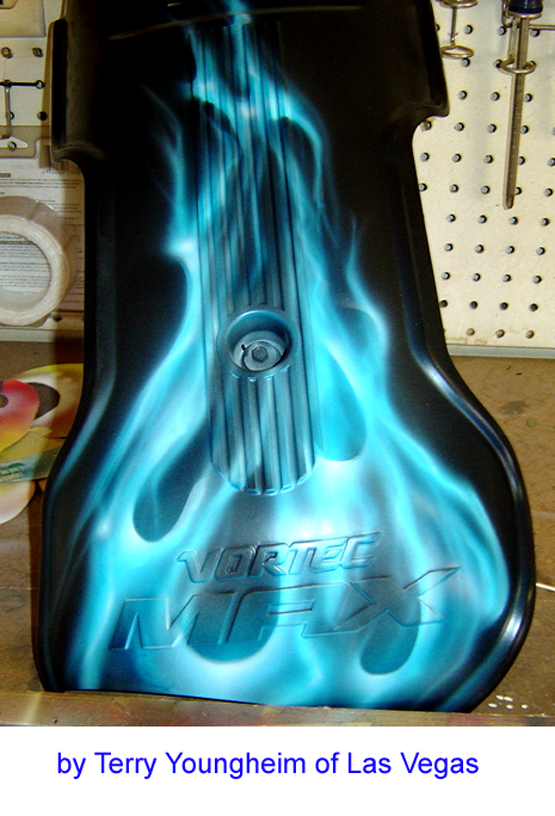 Ice Blue Flames Airbrush Art - Realistic Flames motorcycle engine cover by Terry Youngheim of Las Vegas