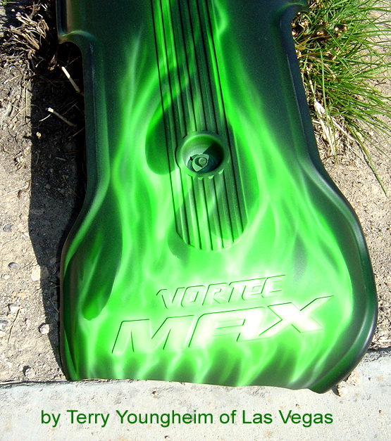 MEAN GREEN Flames!! Airbrush Art - Realistic Flames motorcycle engine cover by Terry Youngheim of Las Vegas