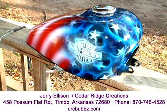 Old Glory American Flag realistic flames Harley tanks by Jerry Ellison