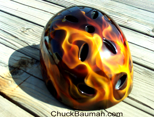 Skater Helmet airbrushed with realistic flames by Chuck Bauman