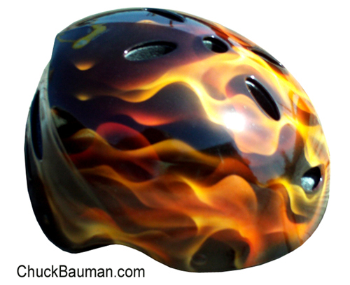 Realistic Flames Airbrushed Sports Helmet