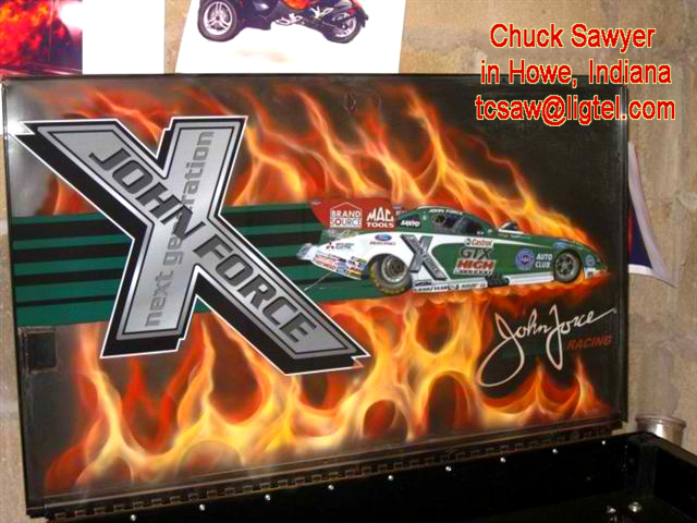Realistic Flames on tool box by Chuck Sawyer