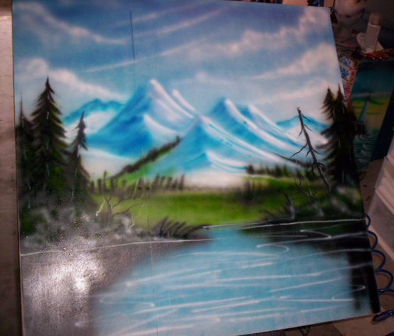 scenic mountain landscape airbrushed by Don Dalton